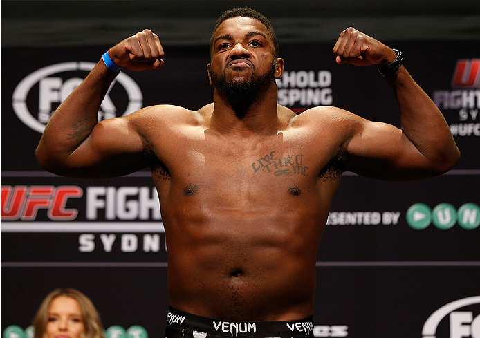 SYDNEY, AUSTRALIA - NOVEMBER 07:  Walt Harris of the United States weighs in during the UFC Fight Night weigh-in at the Allphones Arena on November 7, 2014 in Sydney, Australia. (Photo by Josh Hedges/Zuffa LLC/Zuffa LLC via Getty Images)