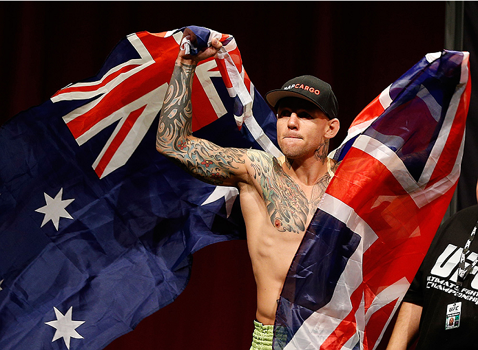 SYDNEY, AUSTRALIA - NOVEMBER 07:  Ross Pearson of England prepares to weigh in during the UFC Fight Night weigh-in at the Allphones Arena on November 7, 2014 in Sydney, Australia. (Photo by Josh Hedges/Zuffa LLC/Zuffa LLC via Getty Images)