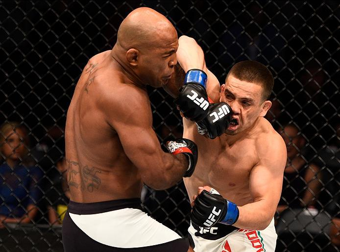 ATLANTA, GA - JULY 30:  (L-R) Wilson Reis exchanges punches with Hector Sandoval in their flyweight bout during the UFC 201 event on July 30, 2016 at Philips Arena in Atlanta, Georgia. (Photo by Jeff Bottari/Zuffa LLC/Zuffa LLC via Getty Images)