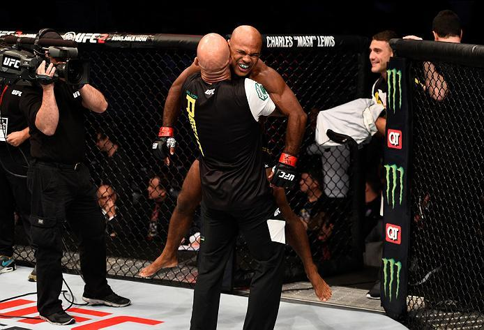ATLANTA, GA - JULY 30:  Wilson Reis celebrates his submission victory over Hector Sandoval in their flyweight bout during the UFC 201 event on July 30, 2016 at Philips Arena in Atlanta, Georgia. (Photo by Jeff Bottari/Zuffa LLC/Zuffa LLC via Getty Images)