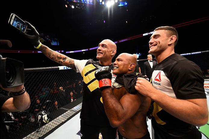 ATLANTA, GA - JULY 30:  Wilson Reis takes a selfie with his team after his submission victory over Hector Sandoval in their flyweight bout during the UFC 201 event on July 30, 2016 at Philips Arena in Atlanta, Georgia. (Photo by Jeff Bottari/Zuffa LLC/Zuf