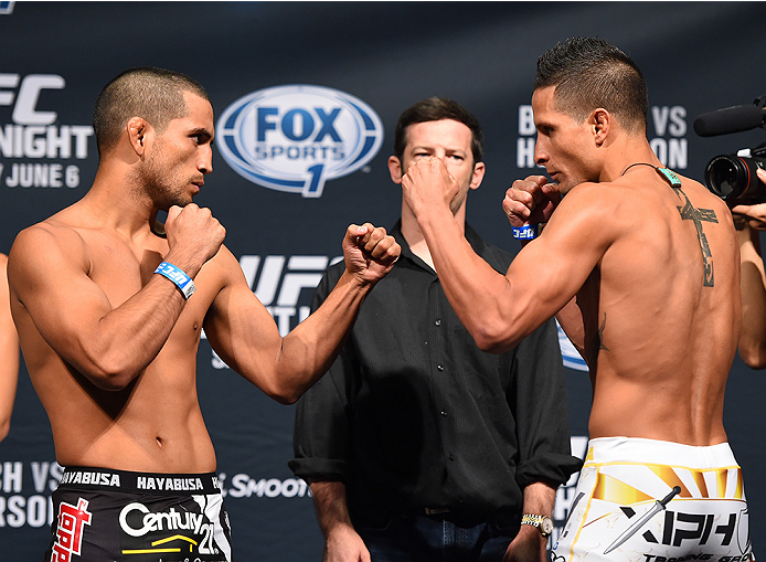 NEW ORLEANS, LA - JUNE 05:  (L-R) Opponents Joe Soto and Anthony Birchak face off during the UFC weigh-in at the Smoothie King Center on June 5, 2015 in New Orleans, Louisiana. (Photo by Josh Hedges/Zuffa LLC/Zuffa LLC via Getty Images)