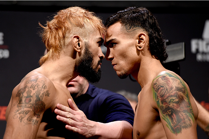 RIO DE JANEIRO, BRAZIL - MARCH 20:  Godofredo Pepey (L) of Brazil and Andre Fili of the USA face off during the UFC Fight Night Weigh-ins at Maracanazinho  on March 20, 2015 in Rio de Janeiro, Brazil.  (Photo by Buda Mendes/Zuffa LLC/Zuffa LLC via Getty I