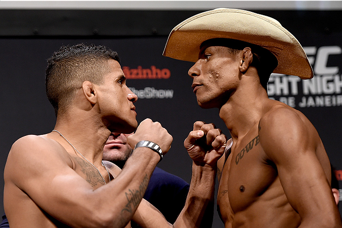 RIO DE JANEIRO, BRAZIL - MARCH 20: Gilbert Durinho (L) of Brazil and Alex Oliveira of Brazil face off during the UFC Fight Night Weigh-ins at Maracanazinho  on March 20, 2015 in Rio de Janeiro, Brazil.  (Photo by Buda Mendes/Zuffa LLC/Zuffa LLC via Getty