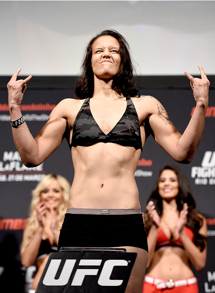 RIO DE JANEIRO, BRAZIL - MARCH 20:  Shayna Baszler of United States  weighs in during the UFC Fight Night Weigh-ins at Maracanazinho  on March 20, 2015 in Rio de Janeiro, Brazil.  (Photo by Buda Mendes/Zuffa LLC/Zuffa LLC via Getty Images)