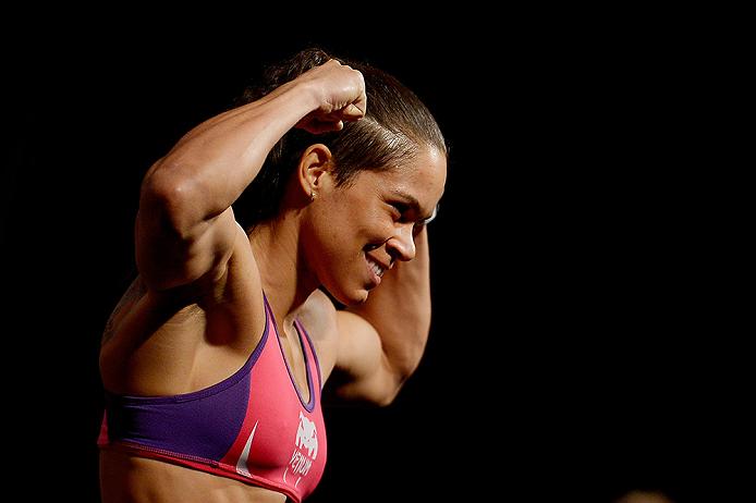 RIO DE JANEIRO, BRAZIL - MARCH 20:  Amanda Nunes of Brazil weighs in during the UFC Fight Night Weigh-ins at Maracanazinho on March 20, 2015 in Rio de Janeiro, Brazil.  (Photo by Alexandre Loureiro/Zuffa LLC/Zuffa LLC via Getty Images)