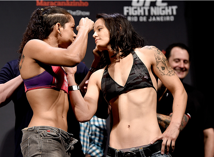 RIO DE JANEIRO, BRAZIL - MARCH 20:  Amanda Nunes of the United States and Shayna Baszler of the USA face off during the UFC Fight Night Weigh-ins at Maracanazinho  on March 20, 2015 in Rio de Janeiro, Brazil.  (Photo by Buda Mendes/Zuffa LLC/Zuffa LLC via