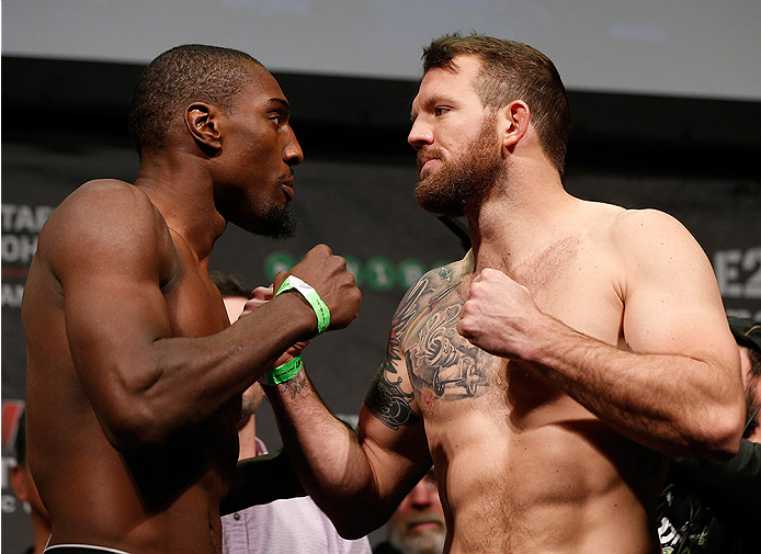STOCKHOLM, SWEDEN - JANUARY 23:  (L-R) Opponents Phil Davis of the United States and Ryan Bader of the United States face off during the UFC Fight Night Weigh-ins at the Hovet Arena on January 23, 2015 in Stockholm, Sweden. (Photo by Josh Hedges/Zuffa LLC