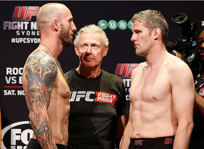 SYDNEY, AUSTRALIA - NOVEMBER 07:  (L-R) Opponents Luke Zachrich of the United States and Daniel Kelly of Australia face off during the UFC Fight Night weigh-in at the Allphones Arena on November 7, 2014 in Sydney, Australia. (Photo by Josh Hedges/Zuffa LL