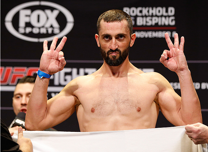 SYDNEY, AUSTRALIA - NOVEMBER 07:  Vik Grujic of Australia weighs in during the UFC Fight Night weigh-in at the Allphones Arena on November 7, 2014 in Sydney, Australia. (Photo by Josh Hedges/Zuffa LLC/Zuffa LLC via Getty Images)
