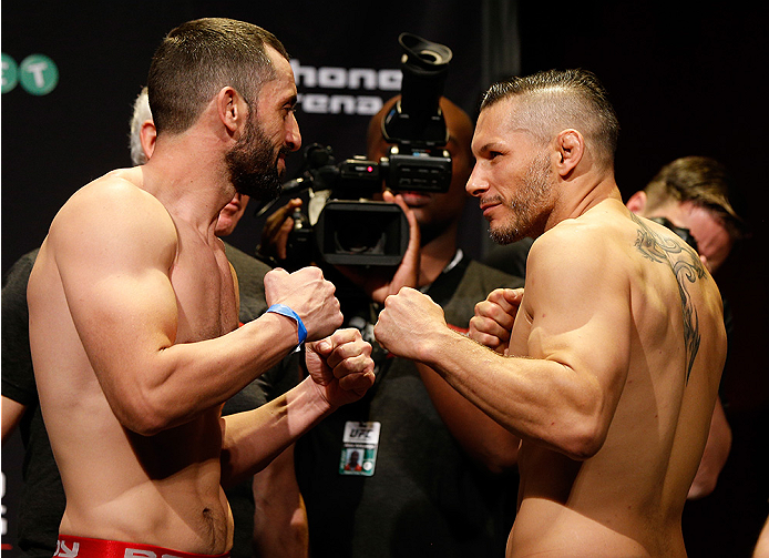 SYDNEY, AUSTRALIA - NOVEMBER 07:  (L-R) Opponents Vik Grujic of Australia and Chris Clements of Canada face off during the UFC Fight Night weigh-in at the Allphones Arena on November 7, 2014 in Sydney, Australia. (Photo by Josh Hedges/Zuffa LLC/Zuffa LLC
