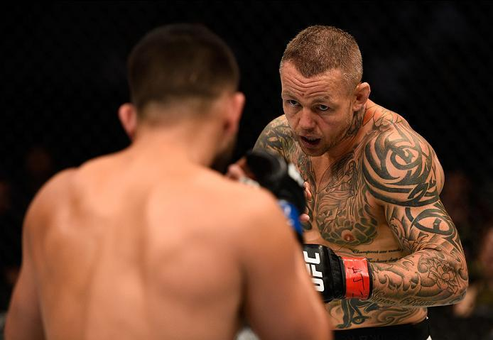 ATLANTA, GA - JULY 30:  (R-L) Ross Pearson circles Jorge Masvidal in their welterweight bout during the UFC 201 event on July 30, 2016 at Philips Arena in Atlanta, Georgia. (Photo by Jeff Bottari/Zuffa LLC/Zuffa LLC via Getty Images)