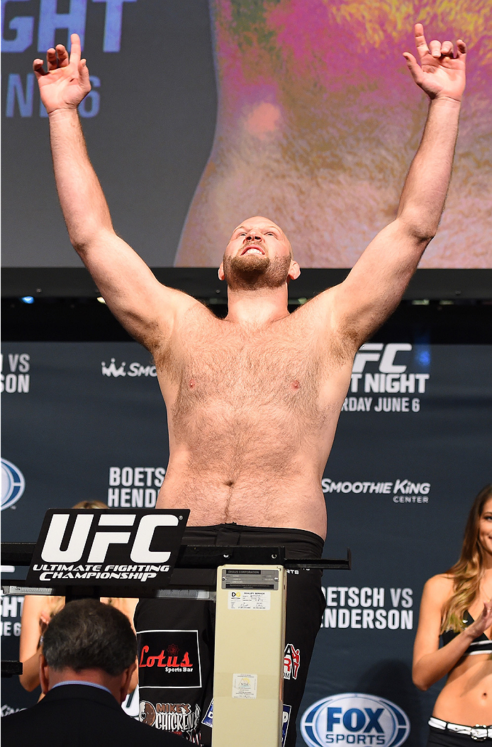 NEW ORLEANS, LA - JUNE 05:  Ben Rothwell weighs in during the UFC weigh-in at the Smoothie King Center on June 5, 2015 in New Orleans, Louisiana. (Photo by Josh Hedges/Zuffa LLC/Zuffa LLC via Getty Images)