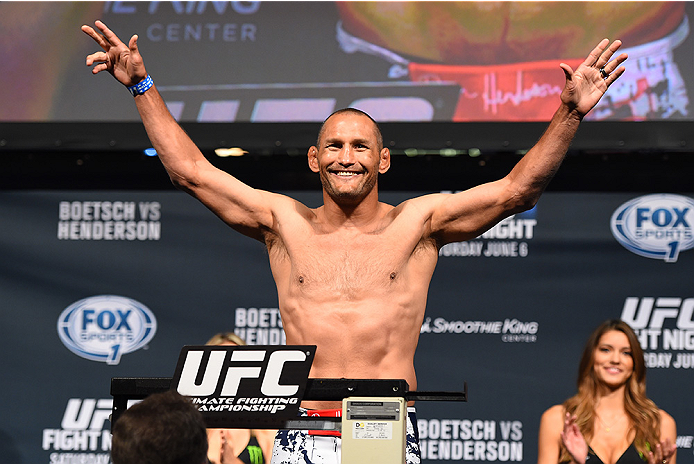 NEW ORLEANS, LA - JUNE 05:  Dan Henderson weighs in during the UFC weigh-in at the Smoothie King Center on June 5, 2015 in New Orleans, Louisiana. (Photo by Josh Hedges/Zuffa LLC/Zuffa LLC via Getty Images)