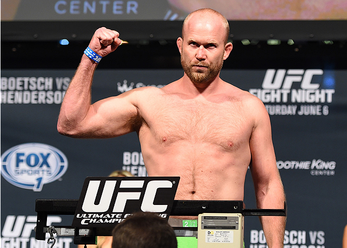 NEW ORLEANS, LA - JUNE 05:  Tim Boetsch weighs in during the UFC weigh-in at the Smoothie King Center on June 5, 2015 in New Orleans, Louisiana. (Photo by Josh Hedges/Zuffa LLC/Zuffa LLC via Getty Images)