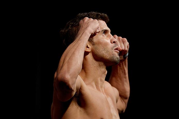RIO DE JANEIRO, BRAZIL - MARCH 20: Leo Santos of Brazil weighs in during the UFC Fight Night Weigh-ins at Maracanazinho on March 20, 2015 in Rio de Janeiro, Brazil.  (Photo by Alexandre Loureiro/Zuffa LLC/Zuffa LLC via Getty Images)