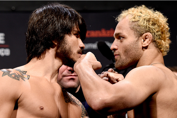 RIO DE JANEIRO, BRAZIL - MARCH 20:  Erick Silva (L) of Brazil and Josh Koscheck of the USA face off during the UFC Fight Night Weigh-ins at Maracanazinho  on March 20, 2015 in Rio de Janeiro, Brazil.  (Photo by Buda Mendes/Zuffa LLC/Zuffa LLC via Getty Im