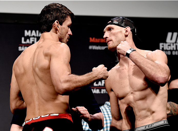RIO DE JANEIRO, BRAZIL - MARCH 20: Demian Maia (L) of Brazil and Ryan LaFlare of the USA face off during the UFC Fight Night Weigh-ins at Maracanazinho  on March 20, 2015 in Rio de Janeiro, Brazil. (Photo by Buda Mendes/Zuffa LLC/Zuffa LLC via Getty Image