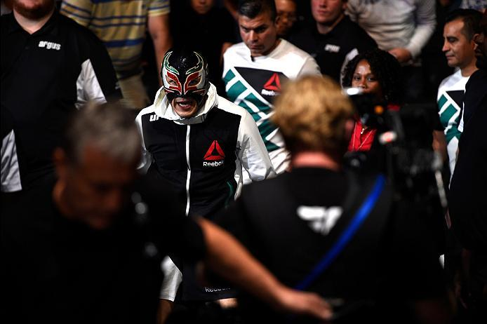 ATLANTA, GA - JULY 30:  Erik Perez prepares to enter the Octagon before facing Francisco Rivera with a spinning back fistin their bantamweight bout during the UFC 201 event on July 30, 2016 at Philips Arena in Atlanta, Georgia. (Photo by Jeff Bottari/Zuff