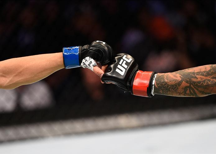 ATLANTA, GA - JULY 30:  (R-L) Francisco Rivera andErik Perez touch gloves in their bantamweight bout during the UFC 201 event on July 30, 2016 at Philips Arena in Atlanta, Georgia. (Photo by Jeff Bottari/Zuffa LLC/Zuffa LLC via Getty Images)