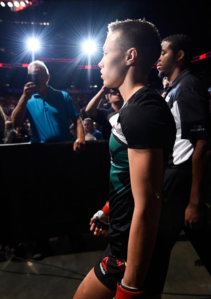 ATLANTA, GA - JULY 30:  Rose Namajunas prepares to enter the Octagon before facing Karolina Kowalkiewicz in their women's strawweight bout during the UFC 201 event on July 30, 2016 at Philips Arena in Atlanta, Georgia. (Photo by Jeff Bottari/Zuffa LLC/Zuf