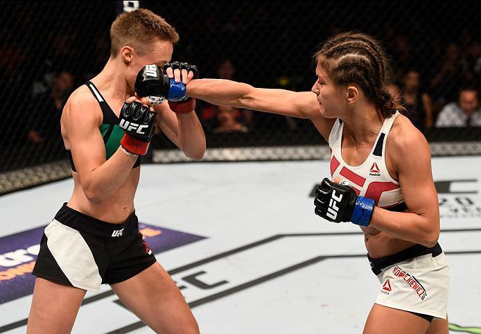 ATLANTA, GA - JULY 30:  (R-L) Karolina Kowalkiewicz punches Rose Namajunas in their women's strawweight bout during the UFC 201 event on July 30, 2016 at Philips Arena in Atlanta, Georgia. (Photo by Jeff Bottari/Zuffa LLC/Zuffa LLC via Getty Images)