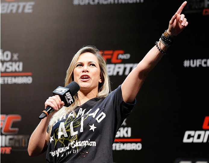 BRASILIA, BRAZIL - SEPTEMBER 12:  UFC host Paula Sack interacts with fans during a Q&A session before the UFC Fight Night weigh-in at the Nilson Nelson Gymnasium on September 12, 2014 in Brasilia, Brazil. (Photo by Josh Hedges/Zuffa LLC/Zuffa LLC via Gett