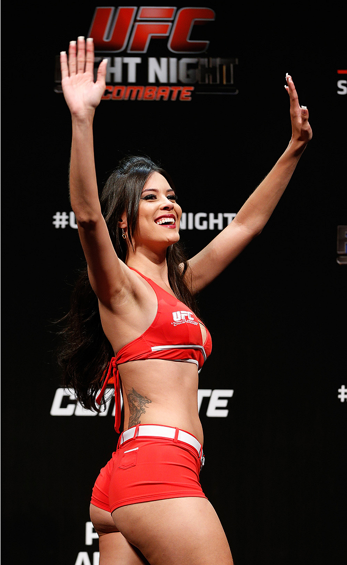 BRASILIA, BRAZIL - SEPTEMBER 12:  UFC Octagon Girl Camila Rodrigues de Oliveira stands on stage during the UFC Fight Night weigh-in at the Nilson Nelson Gymnasium on September 12, 2014 in Brasilia, Brazil. (Photo by Josh Hedges/Zuffa LLC/Zuffa LLC via Get