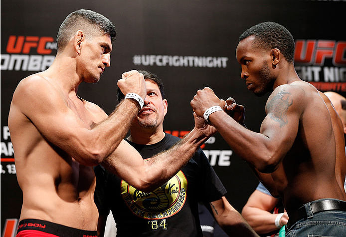 BRASILIA, BRAZIL - SEPTEMBER 12:  (L-R) Opponents Paulo Thiago of Brazil and Sean Spencer face off during the UFC Fight Night weigh-in at the Nilson Nelson Gymnasium on September 12, 2014 in Brasilia, Brazil. (Photo by Josh Hedges/Zuffa LLC/Zuffa LLC via