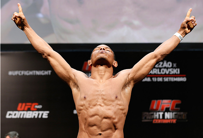BRASILIA, BRAZIL - SEPTEMBER 12:  Francisco Trinaldo of Brazil poses on the scale after weighing in during the UFC Fight Night weigh-in at the Nilson Nelson Gymnasium on September 12, 2014 in Brasilia, Brazil. (Photo by Josh Hedges/Zuffa LLC/Zuffa LLC via