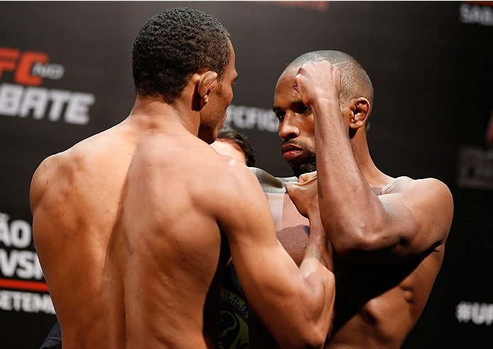BRASILIA, BRAZIL - SEPTEMBER 12:  (L-R) Opponents Francisco Trinaldo of Brazil and Leandro Silva of Brazil face off during the UFC Fight Night weigh-in at the Nilson Nelson Gymnasium on September 12, 2014 in Brasilia, Brazil. (Photo by Josh Hedges/Zuffa L