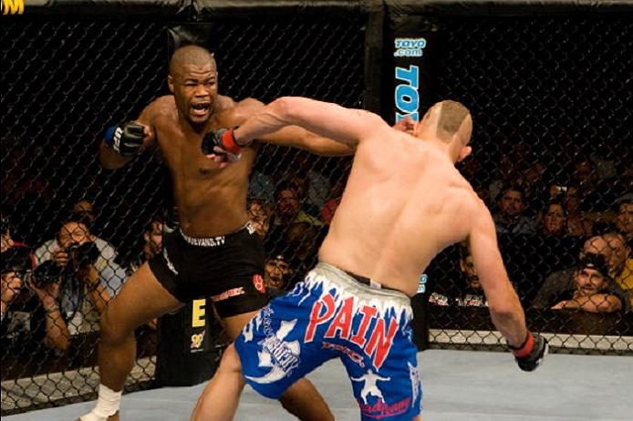 ATLANTA, GA - SEPTEMBER 6:  Rashad Evans (black shorts) def. Chuck Liddell (blue shorts) - KO - 1:51 round 2 during UFC 88 at Philips Arena on September 6, 2008 in Atlanta, Georgia. (Photo by Josh Hedges/Zuffa LLC via Getty Images)