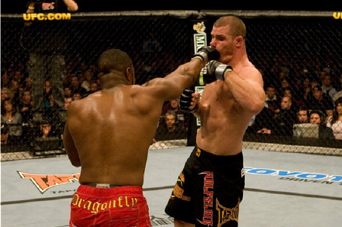 NEWARK, NJ - NOVEMBER 17:  Rashad Evans (red shorts) def. Michael Bisping (black shorts) - Split Decision during UFC 78 at Predential Center on November 17, 2007 in Newark, New Jersey. (Photo by Josh Hedges/Zuffa LLC via Getty Images)