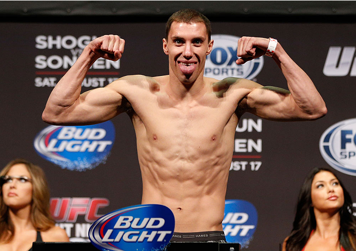 BOSTON, MA - AUGUST 16:  James Vick weighs in during the UFC weigh-in inside TD Garden on August 16, 2013 in Boston, Massachusetts. (Photo by Josh Hedges/Zuffa LLC/Zuffa LLC via Getty Images)