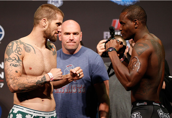 BOSTON, MA - AUGUST 16:  (L-R) Opponents Cody Donovan and Ovince Saint Preux face off during the UFC weigh-in inside TD Garden on August 16, 2013 in Boston, Massachusetts. (Photo by Josh Hedges/Zuffa LLC/Zuffa LLC via Getty Images)