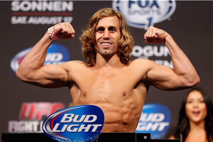 BOSTON, MA - AUGUST 16:  Urijah Faber weighs in during the UFC weigh-in inside TD Garden on August 16, 2013 in Boston, Massachusetts. (Photo by Josh Hedges/Zuffa LLC/Zuffa LLC via Getty Images)