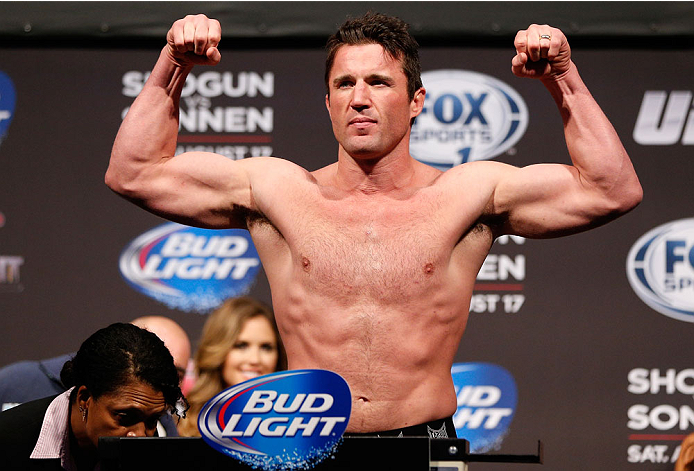 BOSTON, MA - AUGUST 16:  Chael Sonnen weighs in during the UFC weigh-in inside TD Garden on August 16, 2013 in Boston, Massachusetts. (Photo by Josh Hedges/Zuffa LLC/Zuffa LLC via Getty Images)
