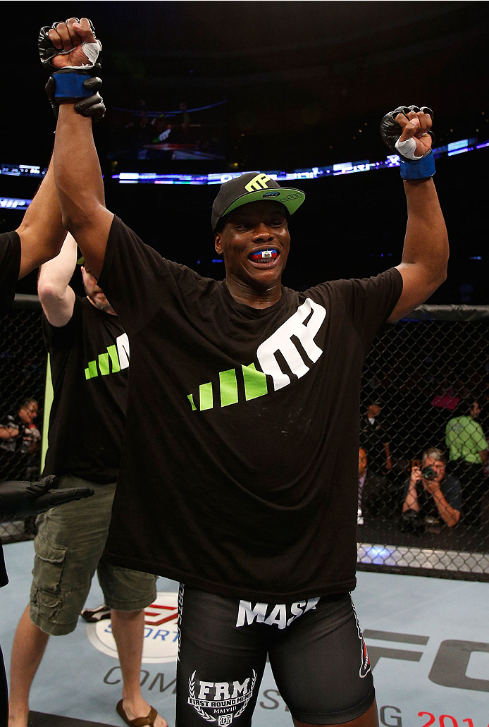 BOSTON, MA - AUGUST 17:  Ovince Saint Preux reacts after his TKO victory over Cody Donovan in their UFC light heavyweight bout at TD Garden on August 17, 2013 in Boston, Massachusetts. (Photo by Josh Hedges/Zuffa LLC/Zuffa LLC via Getty Images)