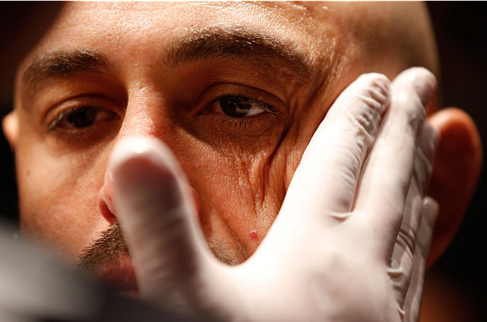 BOSTON, MA - AUGUST 17:  Manny Gamburyan prepares to enter the Octagon before his UFC featherweight bout at TD Garden on August 17, 2013 in Boston, Massachusetts. (Photo by Josh Hedges/Zuffa LLC/Zuffa LLC via Getty Images)