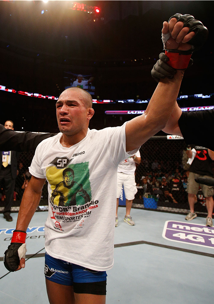 BOSTON, MA - AUGUST 17:  Diego Brandao reacts after his decision victory over Daniel Pineda in their UFC featherweight bout at TD Garden on August 17, 2013 in Boston, Massachusetts. (Photo by Josh Hedges/Zuffa LLC/Zuffa LLC via Getty Images)