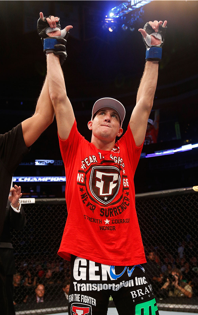 BOSTON, MA - AUGUST 17:  Steven Siler reacts after his knockout victory over Mike Brown in their UFC featherweight bout at TD Garden on August 17, 2013 in Boston, Massachusetts. (Photo by Josh Hedges/Zuffa LLC/Zuffa LLC via Getty Images)