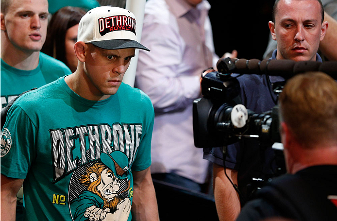 BOSTON, MA - AUGUST 17:  Boston's Joe Lauzon enters the arena before his UFC lightweight bout against Michael Johnson at TD Garden on August 17, 2013 in Boston, Massachusetts. (Photo by Josh Hedges/Zuffa LLC/Zuffa LLC via Getty Images)