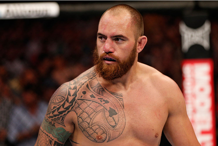 BOSTON, MA - AUGUST 17:  Travis Browne reacts after knocking out Alistair Overeem in their UFC heavyweight bout at TD Garden on August 17, 2013 in Boston, Massachusetts. (Photo by Josh Hedges/Zuffa LLC/Zuffa LLC via Getty Images)