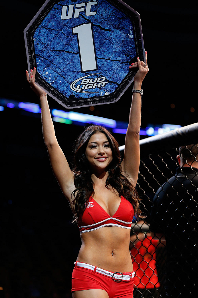 BOSTON, MA - AUGUST 17:  UFC Octagon Girl Arianny Celeste introduces a round during the UFC event at TD Garden on August 17, 2013 in Boston, Massachusetts. (Photo by Josh Hedges/Zuffa LLC/Zuffa LLC via Getty Images)