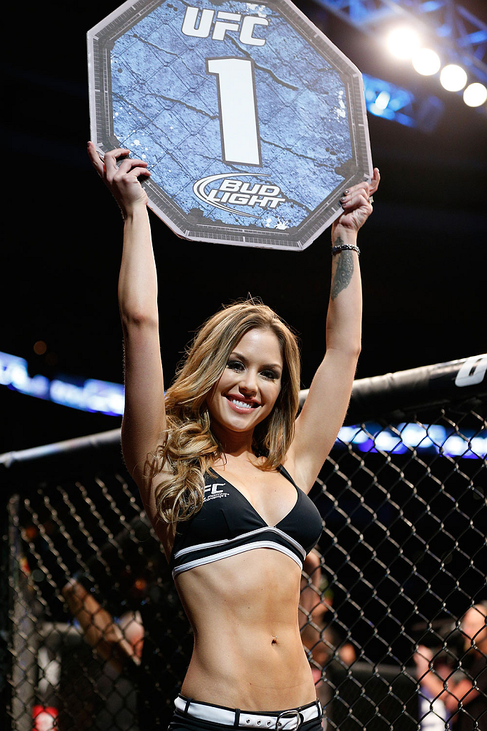 BOSTON, MA - AUGUST 17:  UFC Octagon Girl Brittney Palmer introduces a round during the UFC on FOX Sports 1 event at TD Garden on August 17, 2013 in Boston, Massachusetts. (Photo by Josh Hedges/Zuffa LLC/Zuffa LLC via Getty Images)