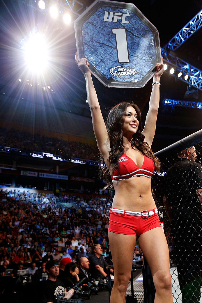 BOSTON, MA - AUGUST 17:  UFC Octagon Girl Arianny Celeste introduces a round during the UFC on FOX Sports 1 event at TD Garden on August 17, 2013 in Boston, Massachusetts. (Photo by Josh Hedges/Zuffa LLC/Zuffa LLC via Getty Images)