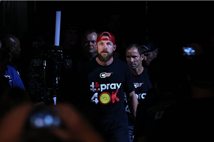 INDIANAPOLIS, IN - AUGUST 28:  James Head enters the arena before his welterweight fight against Jason High during the UFC on FOX Sports 1 event at Bankers Life Fieldhouse on August 28, 2013 in Indianapolis, Indiana. (Photo by Ed Mulholland/Zuffa LLC/Zuff