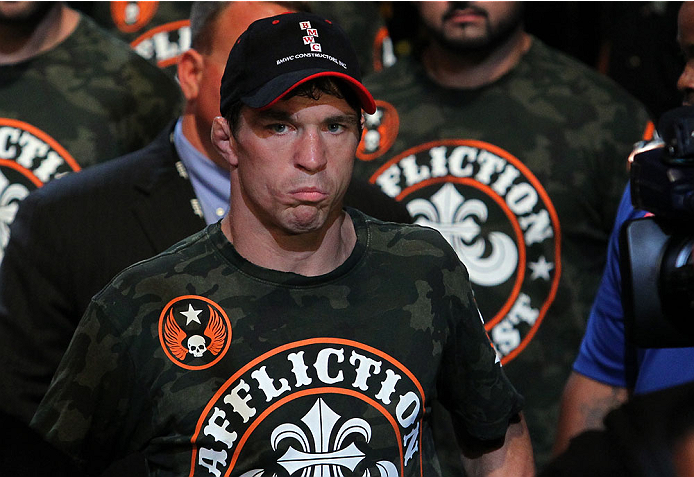 INDIANAPOLIS, IN - AUGUST 28:  Darren Elkins enters the arena before his featherweight fight against Hatsu Hioki during the UFC on FOX Sports 1 event at Bankers Life Fieldhouse on August 28, 2013 in Indianapolis, Indiana. (Photo by Ed Mulholland/Zuffa LLC