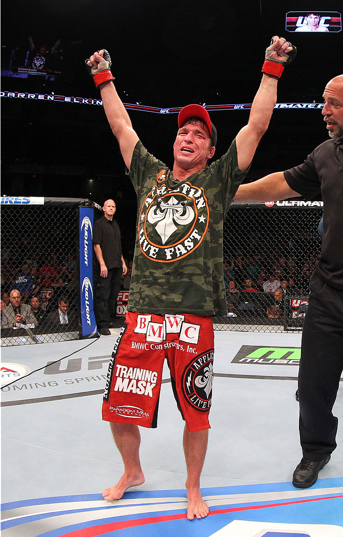 INDIANAPOLIS, IN - AUGUST 28:  Darren Elkins reacts after his victory over Hatsu Hioki in their featherweight fight during the UFC on FOX Sports 1 event at Bankers Life Fieldhouse on August 28, 2013 in Indianapolis, Indiana. (Photo by Ed Mulholland/Zuffa