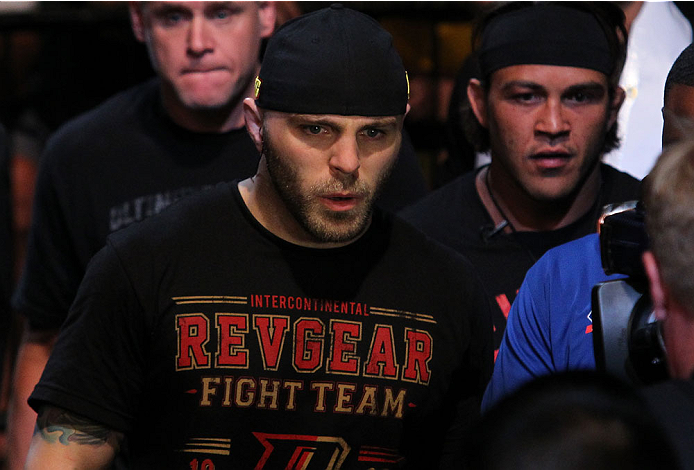INDIANAPOLIS, IN - AUGUST 28:  Justin Edwards enters the arena before his welterweight fight against Brandon Thatch during the UFC on FOX Sports 1 event at Bankers Life Fieldhouse on August 28, 2013 in Indianapolis, Indiana. (Photo by Ed Mulholland/Zuffa